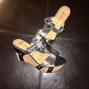 Guess Chrome / Silver Wedge Heel Shoe